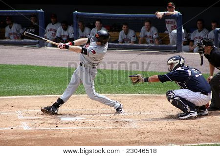 Rochester Red Wings batter Brian Chase Lambin swings at a pitch