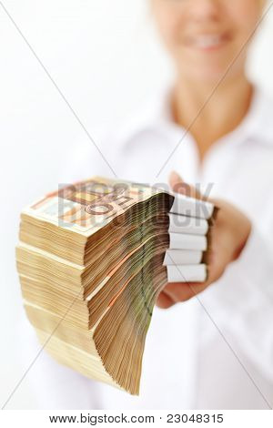 Woman With A Stack Of Euro Banknotes