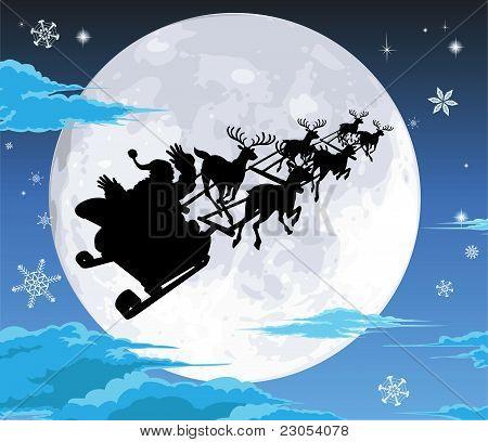 Santa In Sled Silhouette Against Full Moon