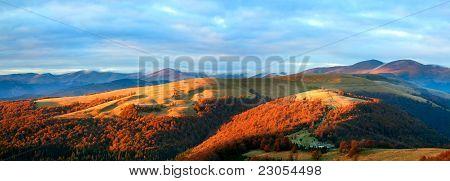 Autumn Evening Mountain Plateau Landscape
