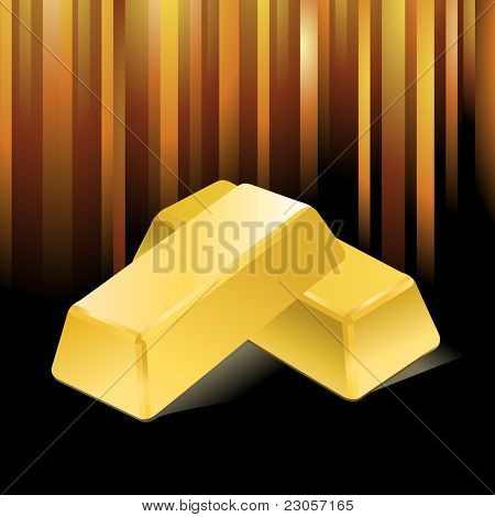 Vector stacked bars of gold bullion