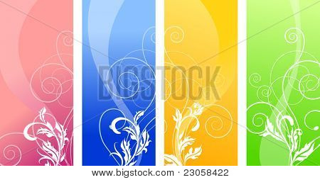 Four floral stylized vertical banners