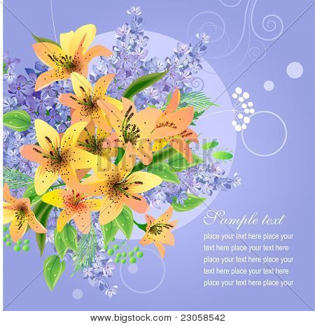 Vector greeting card with big bunch of lilac and lily