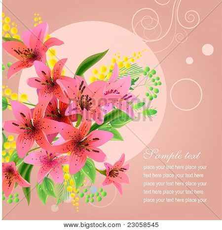 Vector greeting card with big bunch of  lilies