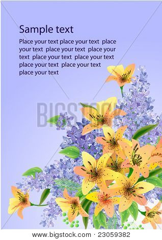 Floral vector background with lilies