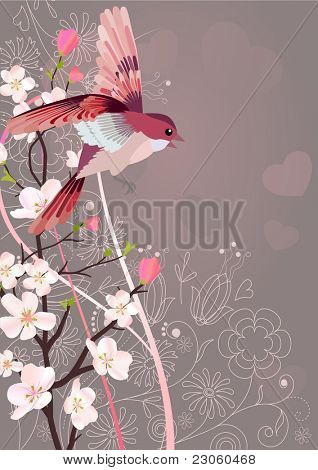 Flying nightingale and blossoming tree