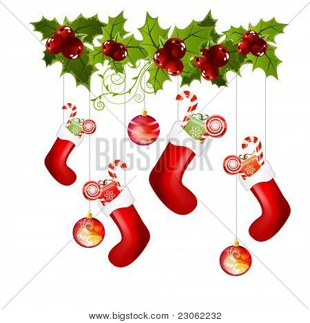 Traditional christmas socks with gifts