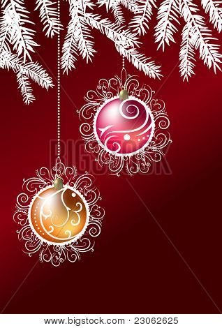 Two christmas balls hanging on a branch of fir. Raster version. Vector version is in my gallery.