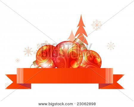 Christmas design element with band and balls