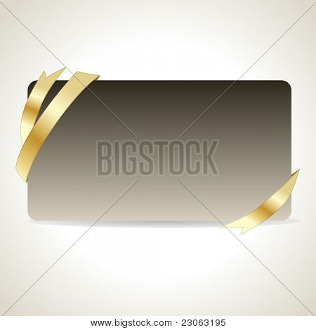 Empty card with gold ribbon