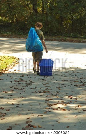 Boy Doing Recycling Chores