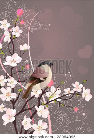 Beautiful background with bird and blossoming tree. Raster version. Vector version is in my gallery.