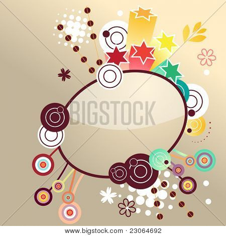 Fancy floral label. Raster version. Vector version is in my gallery.