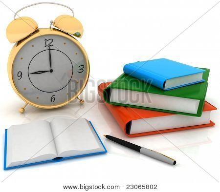 alarm clock near stack of books over white