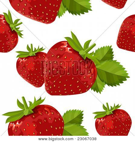 Seamless pattern with  ripe strawberry