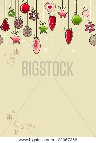 Beige background with hanging contour Christmas decorations