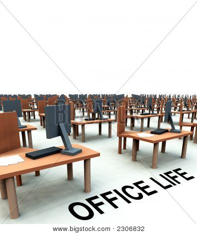 Many Desks With Chairs