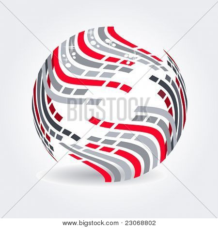 Abstract symbol made of red and grey stripes