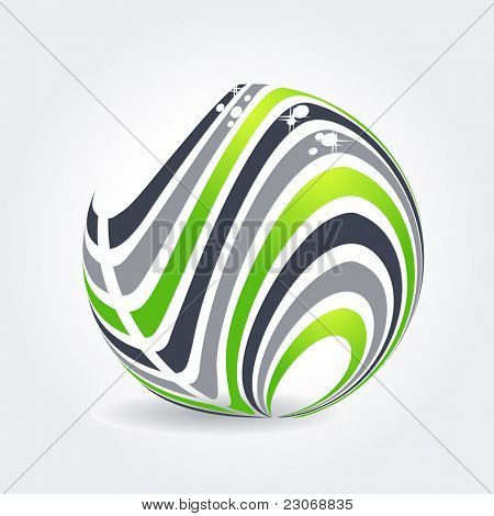 Abstract symbol made of green and grey stripes