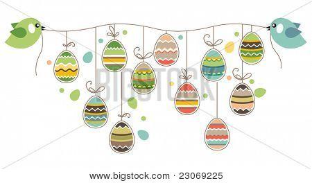 Dos pájaros sujetar la cuerda con huevos de Pascua