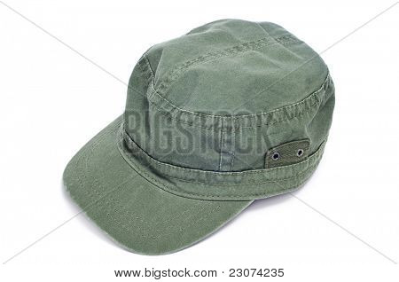 a green cap on a white background