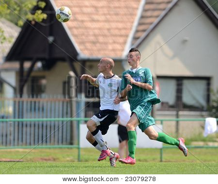 KAPOSVAR, HUNGARY - AUGUST 27: Richard Csaki (in green) in action at the Hungarian National Championship under 18 game between Kaposvar (green) and Gyor (white) August 27, 2011 in Kaposvar, Hungary.
