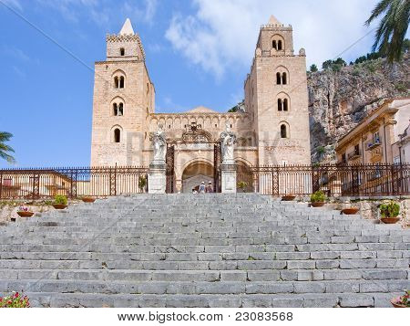 Medieval Norman Cathedral In Cefalu, Sicily