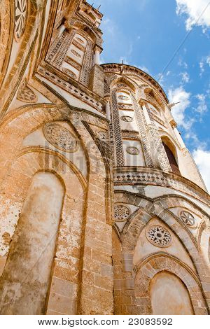 Ancient Wall Of Norman Style Duomo Di Monreale, Sicily, Italy