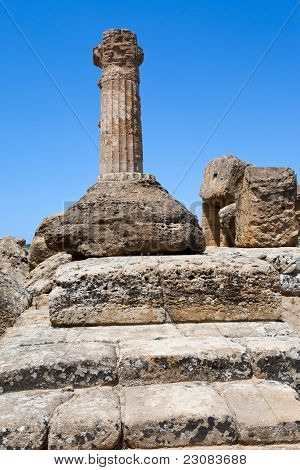 Dorian Column Of Temple In Valley Of The Temples In Agrigento
