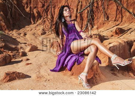 Beautiful Young Girl With Purple Dress