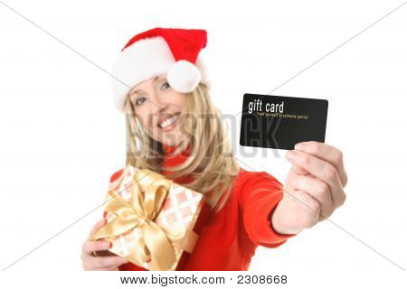 Woman Holding Gift Card, Credit Card Etc