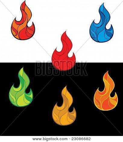 Conjunto de llamas de fuego colorido
