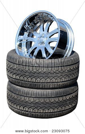 Tires and Chrome Wheel