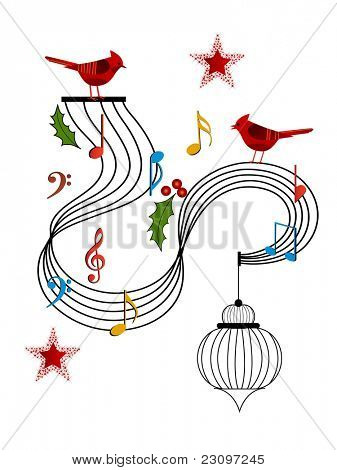 red cardinals musical stanza and birdcage