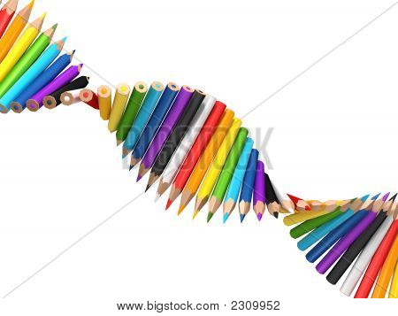 Dna Molecule Of Pencils