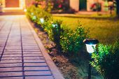 Decorative Small Solar Garden Light, Lanterns In Flower Bed In Green Foliage. Garden Design. Solar P poster