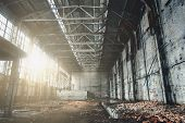 Abandoned Ruined Industrial Factory Building, Ruins And Demolition Concept poster