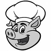 Pig With Chef Hat Illustration - A Vector Cartoon Illustration Of A Pig With A Chef Hat. poster