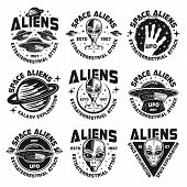 Постер, плакат: Ufo And Aliens Collection Of Nine Emblems Labels Badges Stickers And Prints Isolated On White Bac