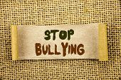 Writing Text Showing  Stop Bullying. Business Photo Showcasing Awareness Problem About Violence Abus poster