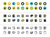 Black And Color Outline Icons Thin Flat Design, Modern Line Stroke Style, Web And Mobile Design Elem poster