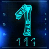 1 Number Vector. One Roentgen X-ray Font Light Sign. Medical Radiology Neon Scan Effect. Alphabet. 3 poster