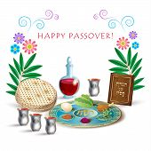 Happy Passover Jewish Holiday Greeting Card With Four Wine Glass, Matza - Jewish Traditional Bread F poster