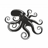 Octipus Marine Mollusk Animal Vector Silhouette Icon. Ocean Octopus With Arms Tentacles Symbol For S poster