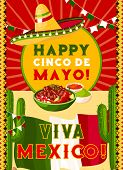 Happy Cinco De Mayo Greeting Card With Mexican Flag And Fiesta Party Food. Festive Sombrero Hat, Chi poster