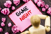 Conceptual Hand Text Showing Game Night. Concept Meaning Entertainment Fun Play Time Event For Gamin poster