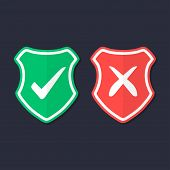 Shields And Check Marks Icons Set. Red And Green Shield With Checkmark And X Mark. Protection, Safet poster