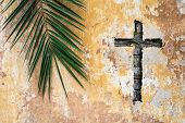 Palm Branch And Christian Cross Or Crucifix On Old Vintage Traditional Wall As Palm Sunday Religion  poster