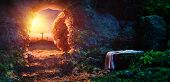 Crucifixion At Sunrise - Empty Tomb With Shroud - Resurrection Of Jesus Christ poster