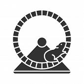 Hamster Wheel Glyph Icon. Rodent Cage Equipment. Silhouette Symbol. Negative Space. Vector Isolated  poster
